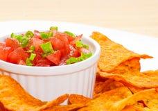 Nachos en salsa Royalty-vrije Stock Fotografie