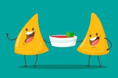 Nachos engraçados dos caráteres com molho da salsa do tomate Alimento mexicano agradável Ilustra??o do vetor ilustração royalty free