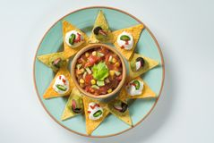Nachos et un bol de Salsa Image stock