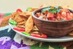 Nachos with fresh homemade hot salsa Royalty Free Stock Images