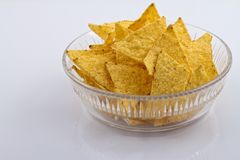 Nachos in glass bowl Royalty Free Stock Image