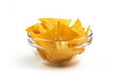 Nachos in a glass bowl Royalty Free Stock Image