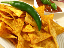 Nachos with green chili and salsa dip Stock Image