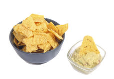 Nachos and guacamole Royalty Free Stock Photos