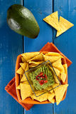 Nachos with guacamole Royalty Free Stock Image