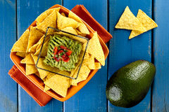 Nachos with guacamole Royalty Free Stock Photos