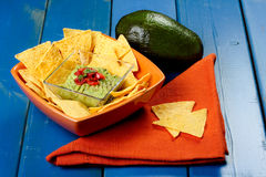 Nachos with guacamole Stock Photos