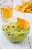 Nachos with guacamole and beer Royalty Free Stock Photo