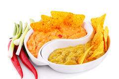 Nachos, guacamole and cheese sauce,  vegetables Royalty Free Stock Image
