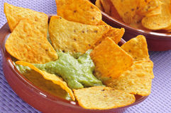 Nachos and guacamole Stock Images