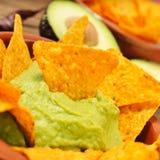 Nachos and guacamole Stock Photo