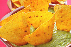 Nachos and guacamole Stock Photo