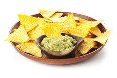 Nachos and Guacamole isolated Stock Image