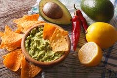 Nachos, guacamole sauce and ingredients close-up. horizontal Royalty Free Stock Photo