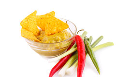 Nachos, guacamole sauce and vegetables Royalty Free Stock Photo