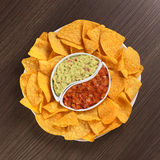 Nachos with Guacamole and Tomato Salsa Stock Photography