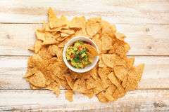 Nachos with Guacamole Stock Photo