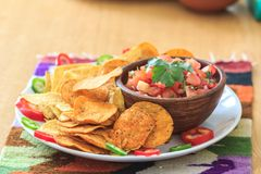 Nachos with homemade hot salsa Stock Photography