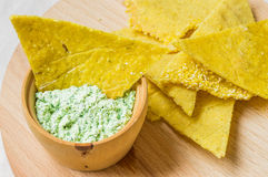 Nachos with homemade sauce Royalty Free Stock Images