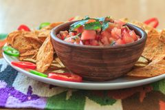 Nachos with hot tomato salsa Stock Photo