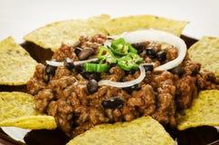 Nachos i Chili con carne Zdjęcie Stock