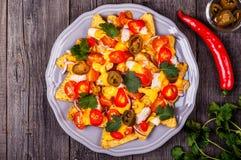 Nachos med den smältta ostsås, jalapenoen, höna och grönsaken Royaltyfri Bild