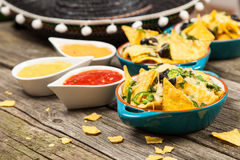 Nachos with melted cheese Royalty Free Stock Photography