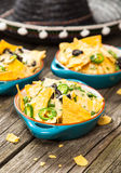 Nachos with melted cheese Stock Photo