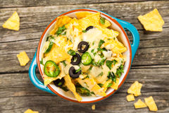 Nachos with melted cheese Royalty Free Stock Photos
