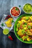 Nachos met kaas, jalapenopeper, rode ui, peterselie, tomaat, salsa, guacamole saus en tequila op groene plaat Royalty-vrije Stock Afbeelding