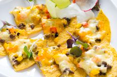 Nachos mexicains avec du fromage Images libres de droits