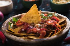 Nachos, mexican meal with tortilla chips Royalty Free Stock Images