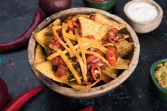 Nachos, mexican meal with tortilla chips Royalty Free Stock Photos