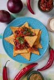 Nachos, mexican meal with tortilla chips Stock Photography
