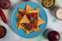 Nachos, mexican meal with tortilla chips Stock Images