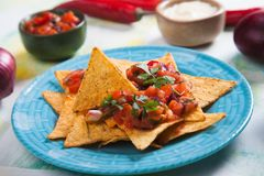 Nachos, mexican meal with tortilla chips Stock Photo