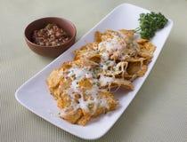 Nachos mit Salsa lizenzfreies stockfoto