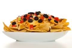 Nachos orizzontali del formaggio Fotografia Stock Libera da Diritti