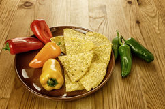 Nachos with peppers Stock Image