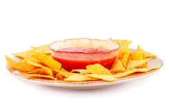 Nachos  and red sauce Stock Images