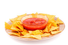 Nachos  and red sauce Royalty Free Stock Photography