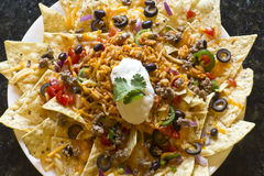 Nachos with Rice and Sour Cream Stock Photos