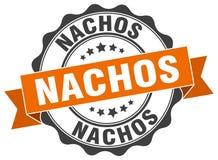 Nachos seal. Nachos round ribbon seal isolated on white background Stock Photo