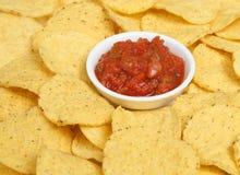 Nachos and Salsa. Corn nacho chips with tomato salsa Stock Photo