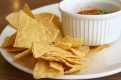Nachos and salsa Stock Images