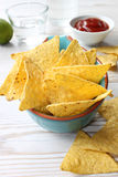 Nachos with salsa in a blue bowl Royalty Free Stock Image
