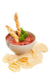 Nachos And Salsa. Nachos chips with fresh homemade salsa isolated on white Royalty Free Stock Images