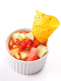 Nachos in salsa dip Stock Photography