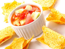 Nachos with salsa dip Royalty Free Stock Photo
