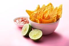 Nachos, salsa och limefrukt Royaltyfri Bild